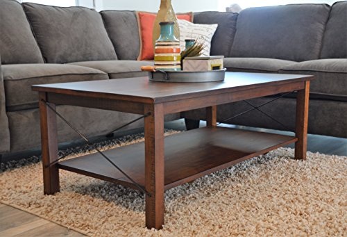 Solid Wood Rustic Coffee table - Distressed Finish - Bronze Coast Collection - Living Room (Cocktail Table Finish)