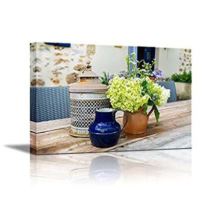 Canvas Wall Art - French Still Life Outdoor with Flowers on The Garden Table | Modern Home Art Canvas Prints Giclee Printing Wrapped & Ready to Hang - 12