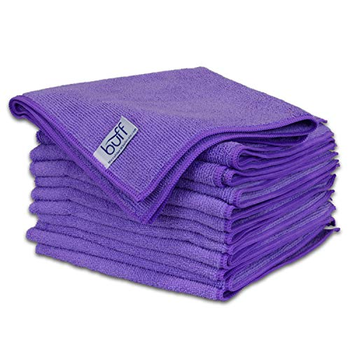 Buff Microfiber Cleaning Cloth | Purple (12 Pack) | Size 16 x 16 | All Purpose Use - Clean, Dust, Polish, Scrub, Absorbent