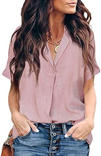 HOTAPEI Blouses for Women Casual V Neck Solid Color Short Cuffed Sleeve Tops