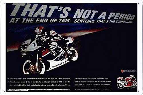 uki Motorcycles: My98 Gsx-R Tin Poster Metal Plate Wall Decor by Abstract Sign ()