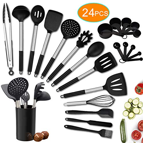 Kitchen Utensils Set, 24pcs Silicone Cooking Kitchen Utensils Set with Heat Resistant BPA-Free Silicone and Stainless…