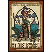 Tiki Bar is open, cocktails, kneipe, barschild, schild aus blech, metal sign, tin