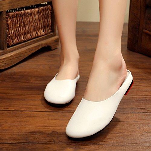 Femme Chaussures à GUANG pour Chaussures Pantoufles XING Été Littéraire Femmes Nouveau 42 Fond Main White Rétro La 42 Original à Black Baotou Plat 8qCZw7q