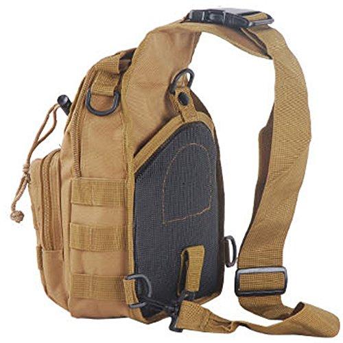 aiyuda táctico militar MOLLE 600d bandolera Sling Crossbody pecho bolsa Pack para Camping Trekking Senderismo Ciclismo, color negro, tamaño talla única, volumen  6 Marrón (Coyote Brown)