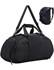 Gym Bag Duffel Bag for Women and Men with Shoes Compartment, 3-Way, Water Resistant, Black