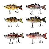 sportsSky 6 Sections Fishing Lure Multi Jointed Baits Crank Bait Swimbait Bass Lifelike Hard Bait Hard Lure Minnow Crank Shad Herring Bass Pike Muskie