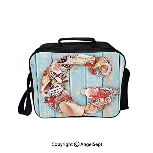 Multifunctional Lunch Bags for Women Wide Open,Nautical Theme with Marine Animals Invertebrates Seashell Starfish Pale Blue Ivory Dark Coral 8.3inch,Lunch Box With Double Deck Cooler Tote Bag