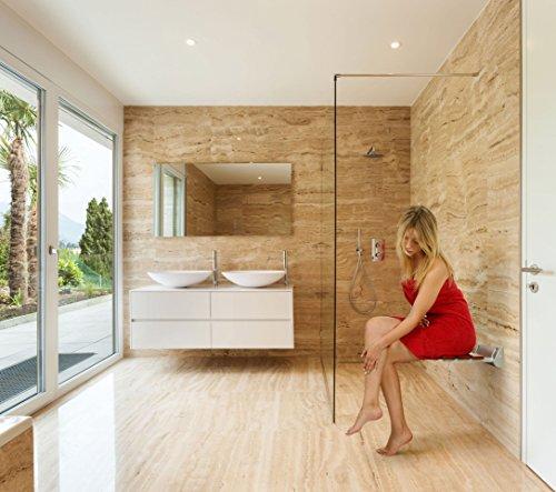 Kenley Folding Shower Seat Wooden Wall Mounted Bench Bathroom ...