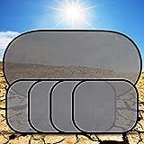 Quaant Car Sun Shade,5 Pcs Car Windows Sun Shade Black Mesh Auto Sun Visor Curtain Window Sunshade Suction Cup Protection Front Rear Side (Silver)