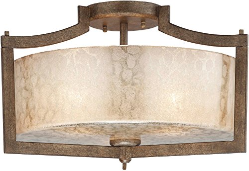 Minka Lavery Semi Flush Mount Ceiling Light 4397-573, Clarte Glass Lighting Fixture, 3 Light, 180 Watts, Patina