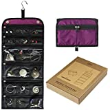 Jaimie Hanging Jewelry Organizer - Compact Portable Size - Foldable Accessory Necklace Ring Bracelet Organizer for Travel & Home - 23 Zippered Pockets for Easy Storage [Gift Ready Royal Purple]