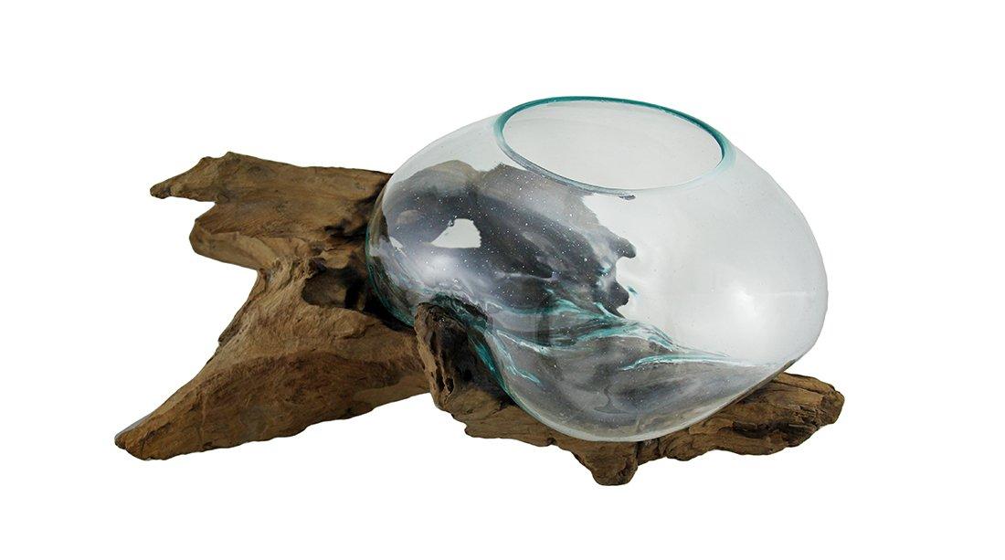 Zeckos Glass On Teak Driftwood Hand Sculpted Molten Bowl/Plant Terrarium by Zeckos