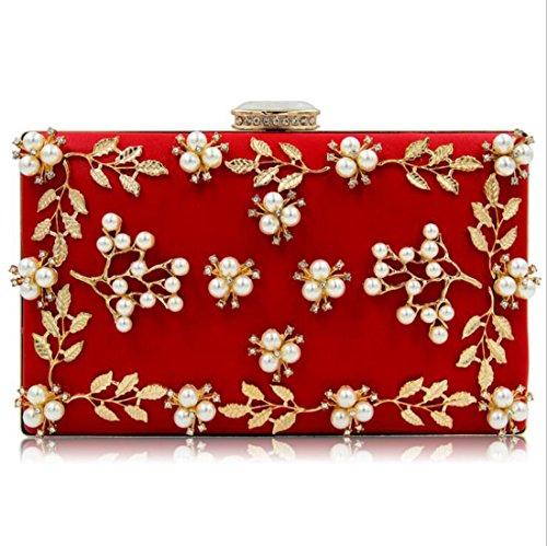 NBWE Sacs Perles Femmes à soirée Red Sac Embrayages Pochette de main rxrF0Rw