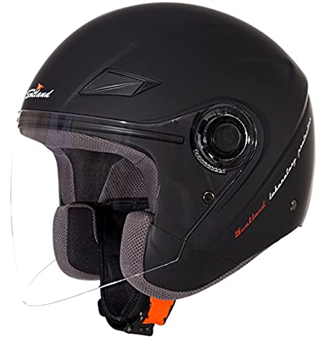Scotland Casco Moto/Scooter con Visera Larga Force 03, Negro Mate, 59-