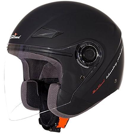 Negro Mate Scotland Casco Moto//Scooter con Visera Larga Force 03 S 55-56