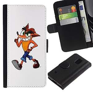 KingStore / Leather Etui en cuir / Samsung Galaxy S5 V SM-G900 / Fox personaje de dibujos animados para ni?os Dibujo Arte