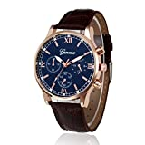 Clearance! Charberry Mens Belt Watch Retro Design Leather Band Analog Alloy Quartz Wrist Watch (Brown)