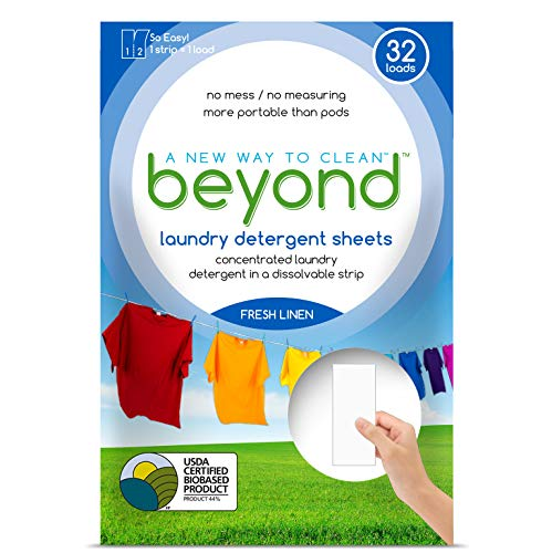 Beyond Concentrated Laundry Detergent Sheets (Laundry Detergent Strips) Fresh Linen Scent (Pack of 32) (Best Baby Detergent India)