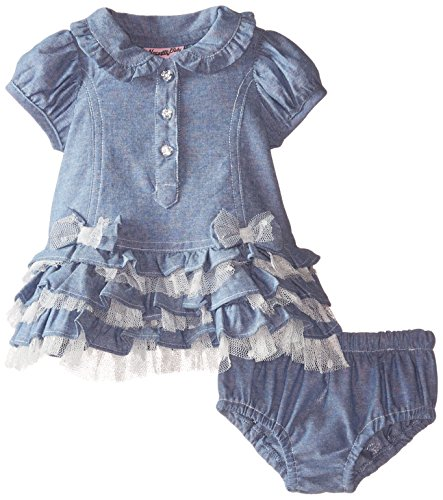 887847662338 - Nannette Baby-Girls Newborn Chambray Dress with Jaquard Dot Rhinestone Button Detail and Panty, Blue, 6-9 Months carousel main 0