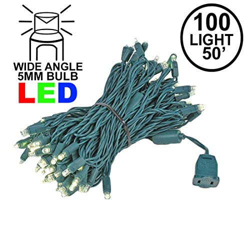 Novelty Lights 100 Light LED Christmas Mini Light Set, Outdoor Lighting Party Patio String Lights, Warm White, Green Wire, 50 ()