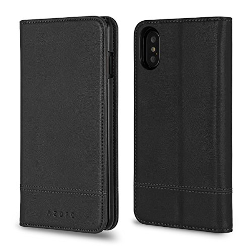 iPhone X Case, AZOFO Genuine Cowhide Leather Wallet Case, Slim Flip Cover Protective Folio Book Style for Apple iPhone X with ID&Credit Card Holder, Kickstand, Cash Pockets, Magnetic Clousure, Black