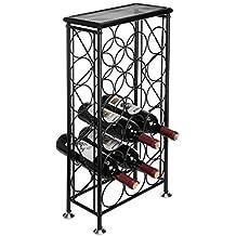 Sleek Modern Circles Design Black Metal 18 Bottle Holder Free Standing Wine Organizer Rack Cellar Storage Tower