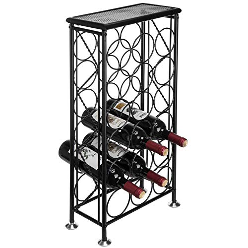 - Sleek Modern Circles Design Black Metal 18 Bottle Holder Free Standing Wine Organizer Rack Cellar Storage Tower