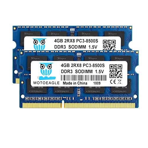 8GB Kit (2x4GB) PC3-8500 DDR3 1066 MHz RAM Laptop, Motoeagle 2Rx8 PC3 4GB DDR3 204pin SODIMM Memory 1.5V CL7 Upgrade Chips