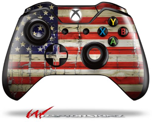 Painted Faded and Cracked USA American Flag - Decal Style Skin fits Microsoft XBOX One Wireless Controller (CONTROLLER NOT INCLUDED) (Controler Xbox One Stickers)