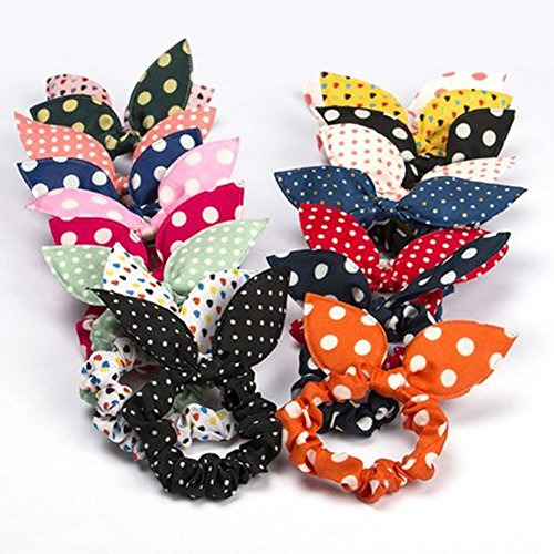 Cute Girls Hair Tie Bands - CINRA 10 PCS Rabbit Ear Hair Tie Bands Ropes Ponytail Holder Color Randomly (10pcs)