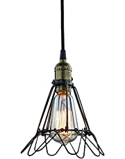 Juneslife Vintage Metal Cage Loft Edison Industrial Retro Ceiling Light Shade E27 Iron Cage Chandelier Pendant Lamp for Home Office Rooms Cafe Bedroom Hotel Restaurant Library-Bronze Opening or Closing Pattern