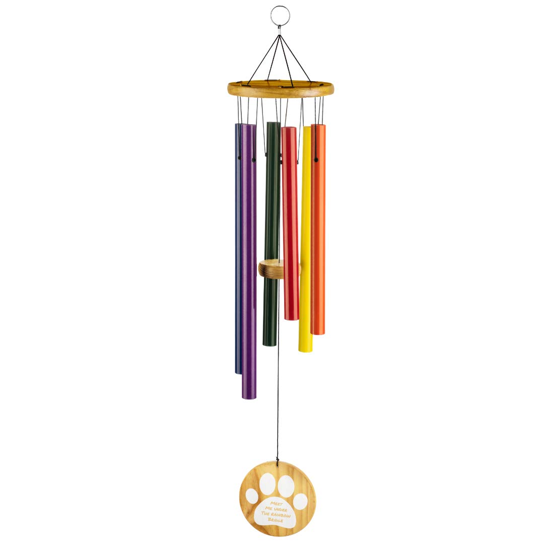 """Humane Goods 25"""" Pet Memorial Rainbow Bridge Wind Chime - Pet Remembrance Gift to Honor and Remember a Dog, Cat, or Other Pet That has Crossed The Rainbow Bridge"""