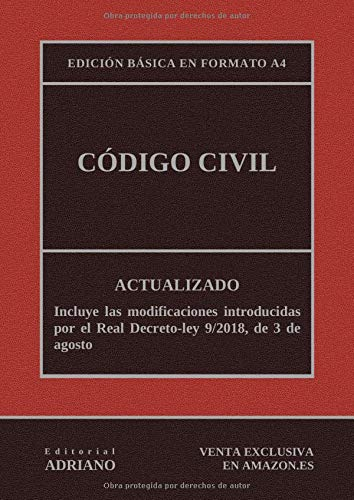 Código Civil (Edición básica en formato A4): Actualizado, incluyendo la última reforma recogida en la descripción por Editorial ADRIANO