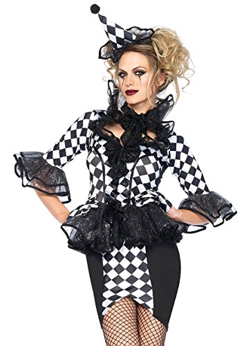 Leg Avenue Women's 3 Piece Pretty Pirouette Clown Costume, Black/White, Small ()