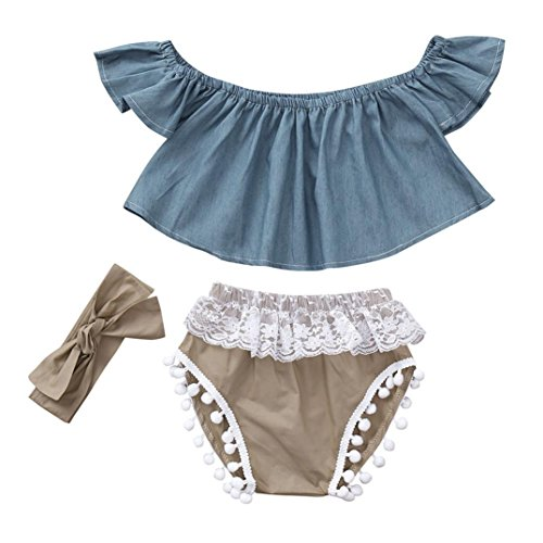 vermers Hot Sale Infant Outfits Baby Girls Off Shoulder Solid Tops+ Lace Shorts+ Headbands 3Pcs(24M, Blue) (Portrait Collar Cardigan)