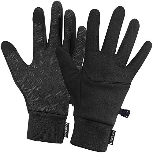 dooolo Winter Gloves,Touch Screen Gloves Warm Running Walking in Cold,Lightweight Compression Safe Driving Cycling Gloves for Women and Men,Cellphone Texting Full Palm Non-Slip (Black I, Small)