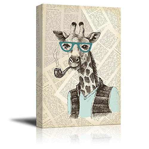 Creative Animal Figure on Vintage Paper Mr Giraffe with a Smoking Pipe