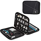 BGTREND Double Layer Electronics Organizer, Nylon Travel Accessories Cord Organizer, Cable Bag Compatible with Passport, Kindle, Camera Accessories, Black