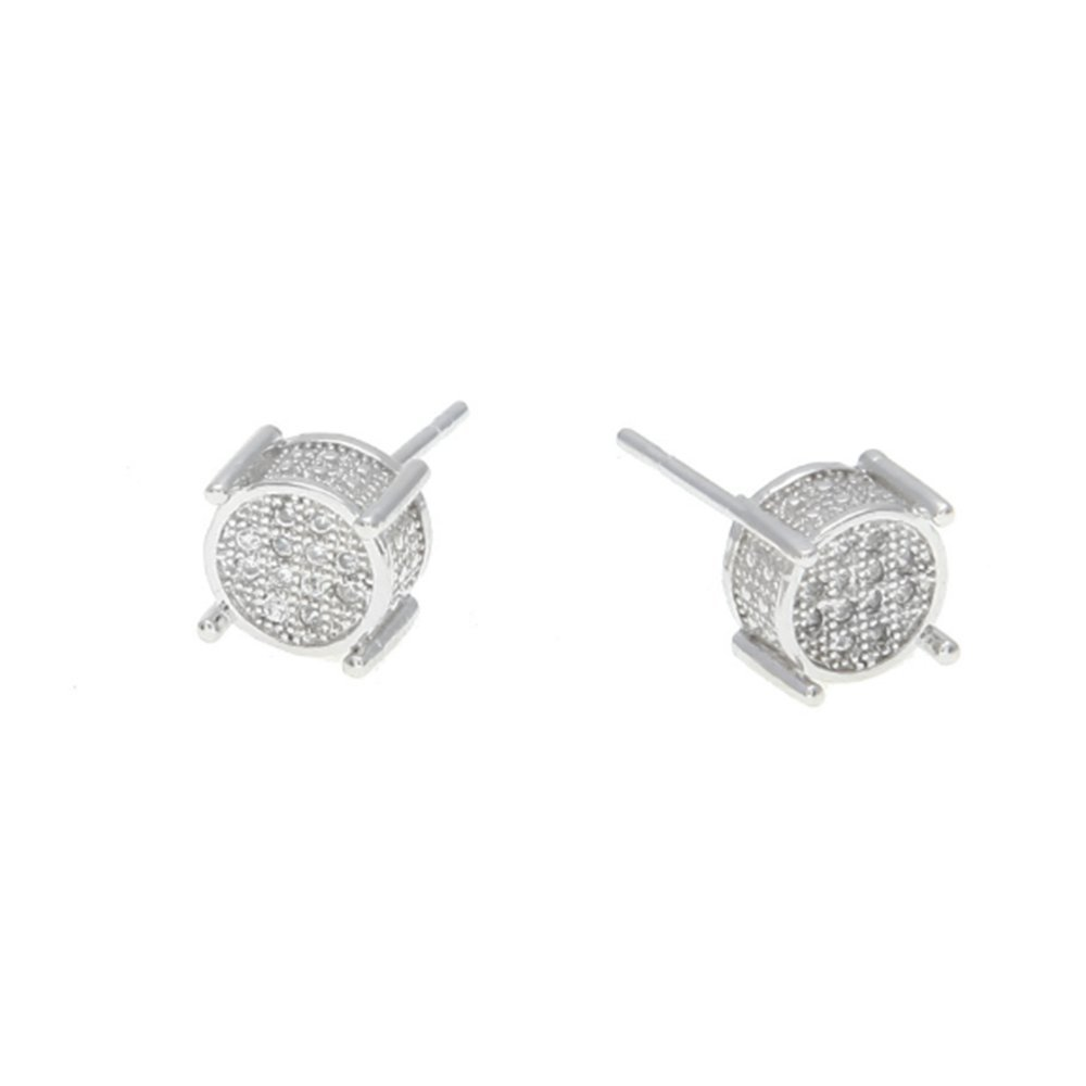 Ludage Earrings, Men's Earrings Men's Ear Nails Zircon Inlaid Round Studs