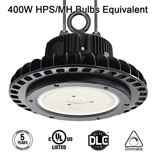 LED High Bay Lighting,100W UFO Hi Bay Light 130 Lm/W Lumileds SMD 3030 LED 13000 lumens(400W HID/HPS equivalent) 5000K Dimmable MeanWell Driver for Garage Warehouse Workshop DLC UL Listed Well Don - 16' Low Bay Light