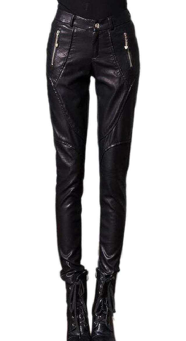 Black pujinggeCA Women High Waist Zip Moto Faux Leather Fleece Winter Legging Pant