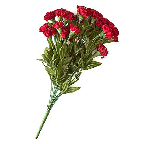 - Factory Direct Craft Wine Poly Silk Carnation Bud Bush | for Indoor Decor