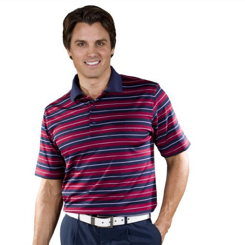Monterey Club Mens Dry Swing Texture Stripe Shirt #1636 (Navy/Red Merlot, Large)
