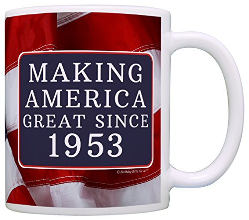 Great Gag Gift (65th Birthday Gifts Making America Great Since 1953 Funny 65th Birthday Party Supplies 65th Birthday Gag Gift Coffee Mug Tea Cup USA Flag)