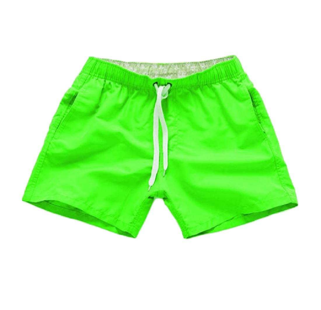 Coolred-Men Swimwear Bathing Suits Surf Boardshorts Swim Trunks Fluorescent Green L