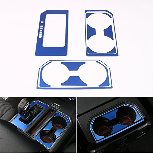 Cab Gear Shift and Cup Holder Decorative Sheet Kit Interior Accessories for Ford F150 2016 2017 (Blue)