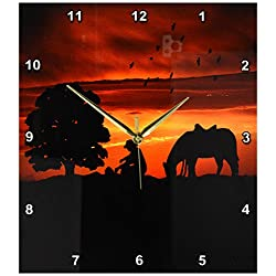 3dRose dpp_173217_2 Cowboy Campfire with Horse on a Hill at Sunset Has a Western Feel-Wall Clock, 13 by 13-Inch