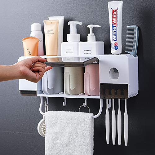 BHeadCat Automatic Toothpaste Dispenser Squeezer Wall Mount and Anti-dust Toothbrush Holder, Multi-Functional Space Saving Toothbrush Organizer with 3 Cups,4 Brush Slots and Towel Bar No Drill Need (Space Saving Cup Holder)