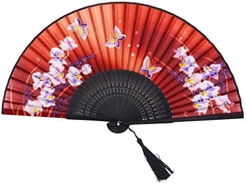 折りたたみ手のファン 中国風の折りたたみ女性の小さなファン布竹扇子ダンスファンクラフトファン (Color : Black+Red)